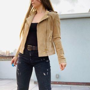 MANGO Tan Genuine Leather Biker Moto Zip Jacket